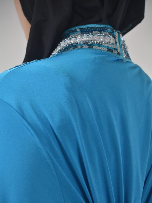 Sky-Blue Beaded Sequins Embroidered Abaya (6)