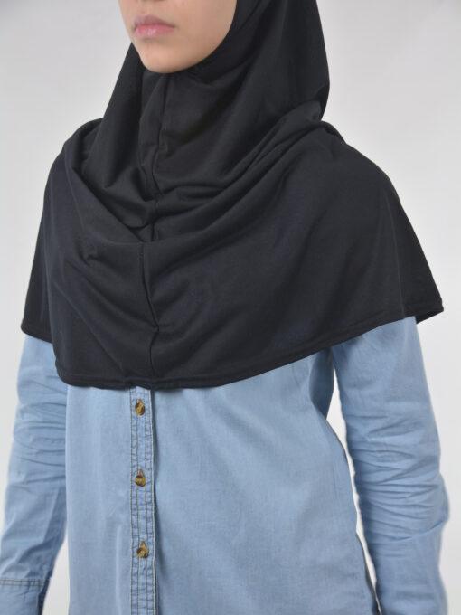 Solid Color One-Piece Long Al-Amira Hijab HI2115 Black 2 (1)