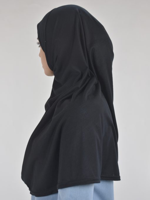 Solid Color One-Piece Long Al-Amira Hijab HI2115 Black 2 (2)