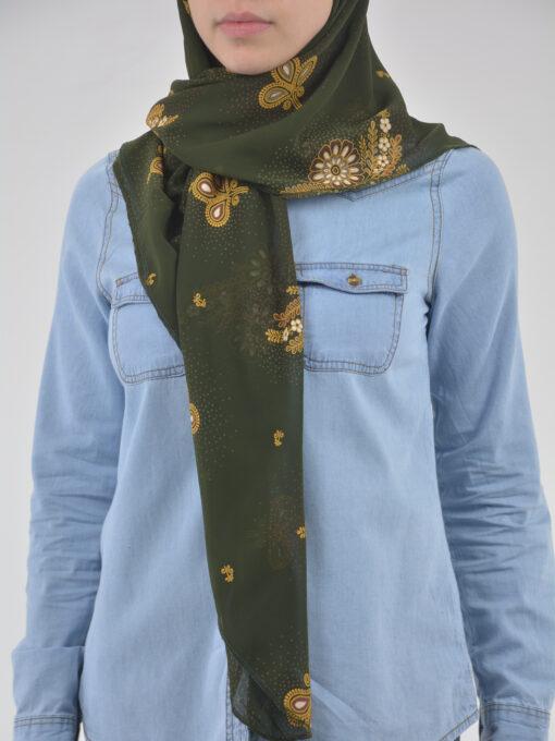 Speckled Paisley Wheat Print Square Hijab HI2123 (2)