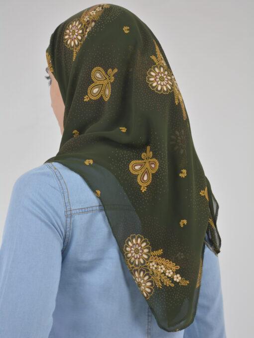 Speckled Paisley Wheat Print Square Hijab HI2123 (3)