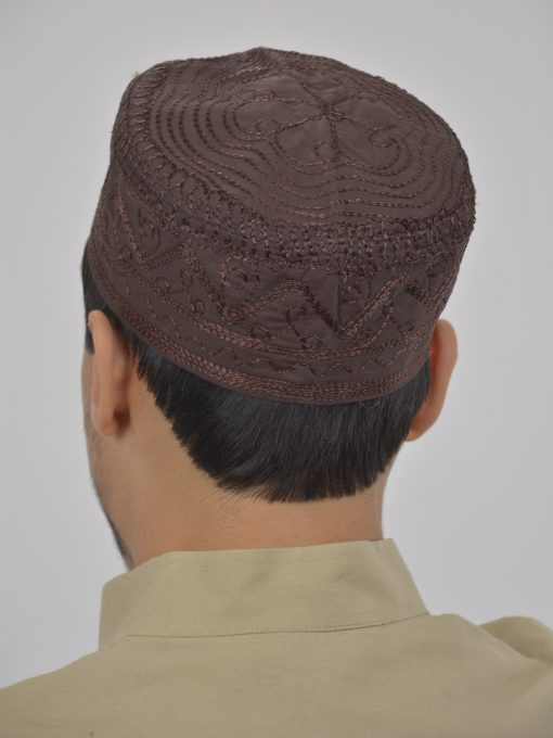 Spiraling Zigzags Embroidered Kufi ME737 (1)