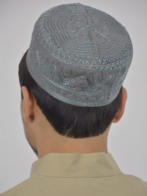 Spiraling Zigzags Embroidered Kufi ME737 (5)