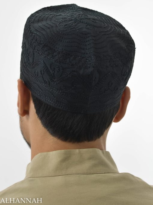 Spiraling Zigzags Embroidered Kufi ME737 (8)