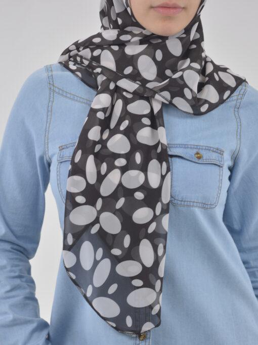 Spotlight Black & White Square Hijab HI2125 (4)