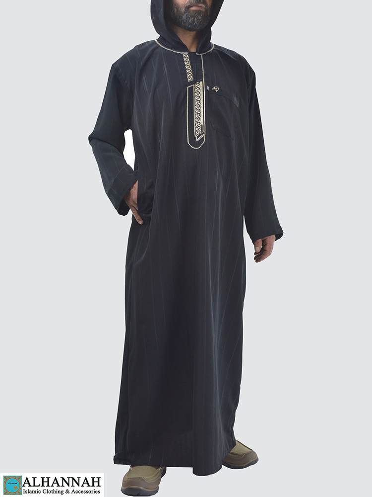 Striped-Hooded-Embroidered-Velcro-Moroccan-Thobe