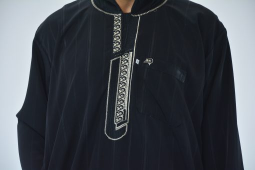 Striped Hooded Embroidered Velcro Moroccan Thobe (2)