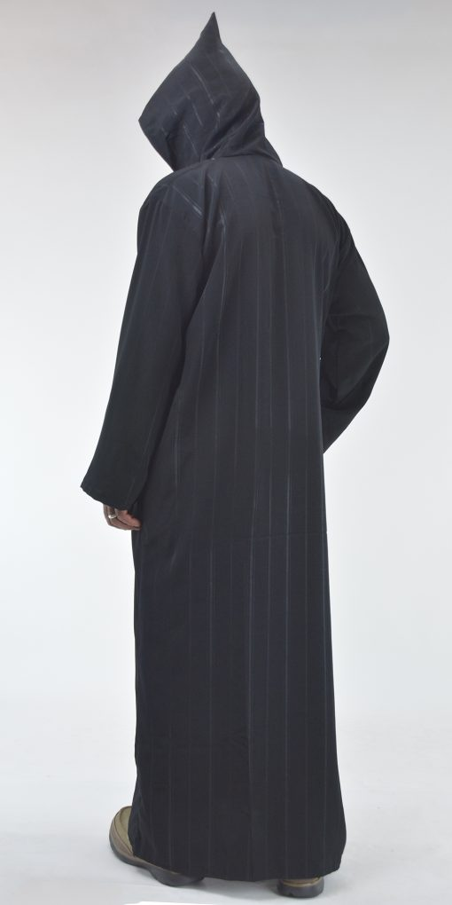 Striped Hooded Embroidered Velcro Moroccan Thobe (3)