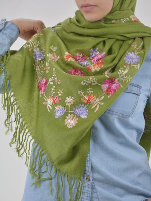Tasseled Floral Sprouts Shayla Wrap Hijab HI2127 (2)