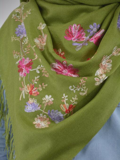 Tasseled Floral Sprouts Shayla Wrap Hijab HI2127 (7)