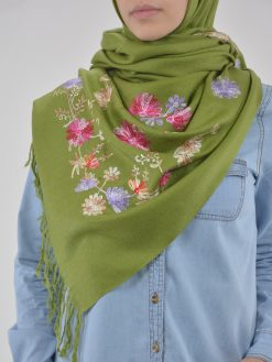 Tasseled Floral Sprouts Shayla Wrap Hijab HI2127 (8)