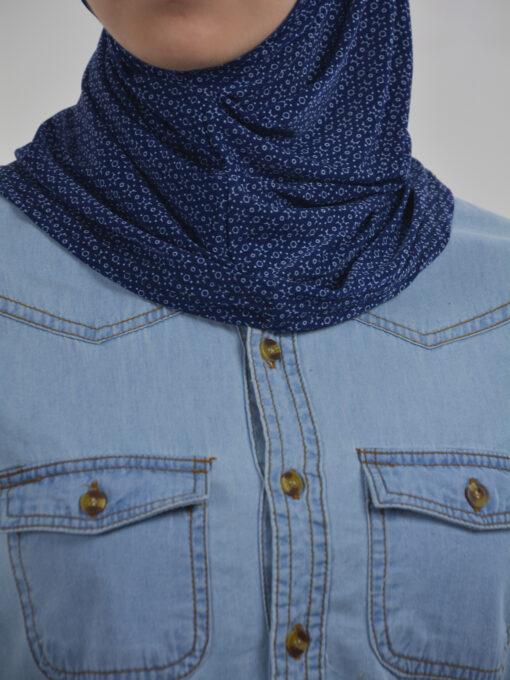 X Pattern Two Piece Al-Amira Hijab HI2117 Navy 2