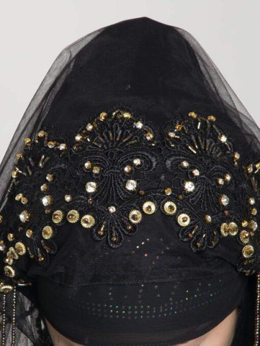 Black Pearled Bridal Hijab hi2153 (1)