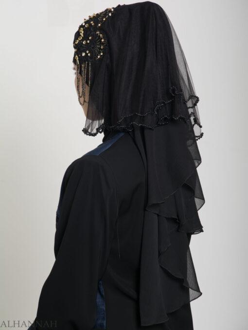 Black Pearled Bridal Hijab hi2153 (10)