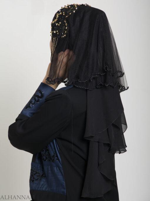 Black Pearled Bridal Hijab hi2153 (11)