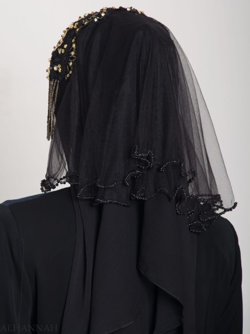 Black Pearled Bridal Hijab hi2153 (14)