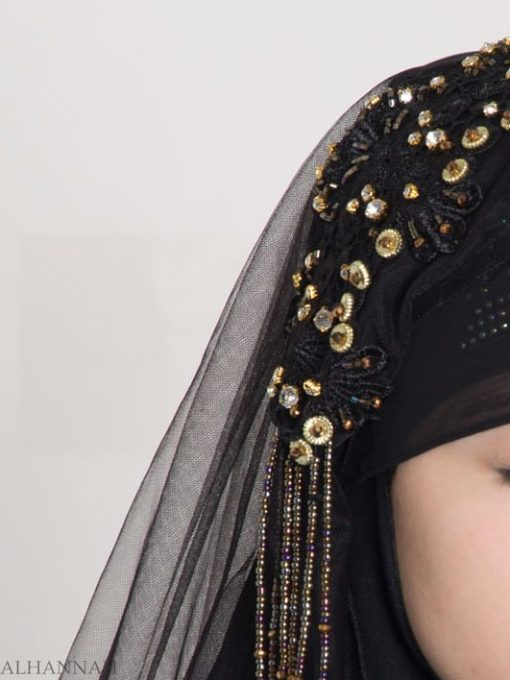Black Pearled Bridal Hijab hi2153 (16)