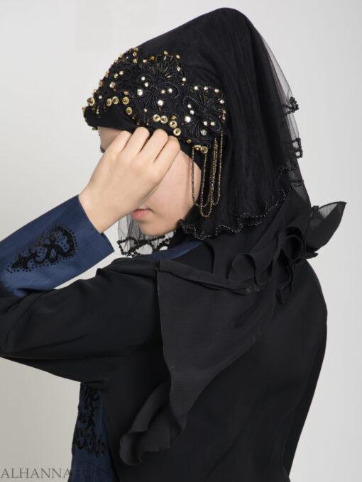 Black Pearled Bridal Hijab hi2153 (5)