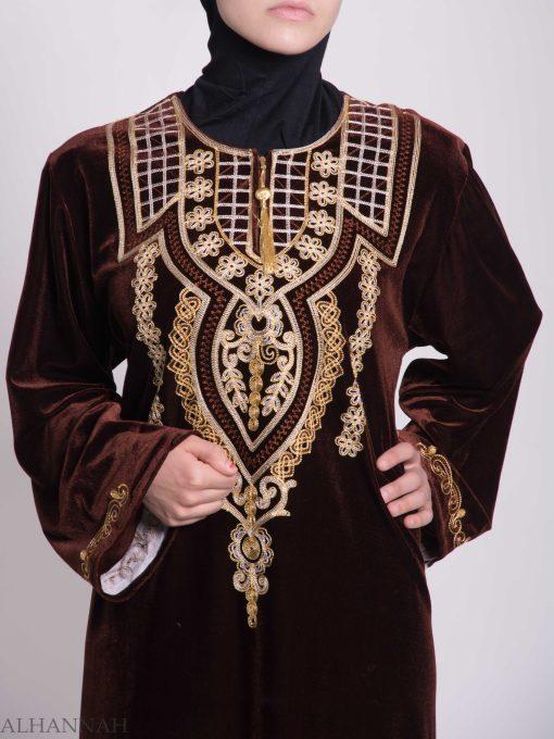Checkered Anemone Embroidered Syrian Velvet Thobe TH789 (5)