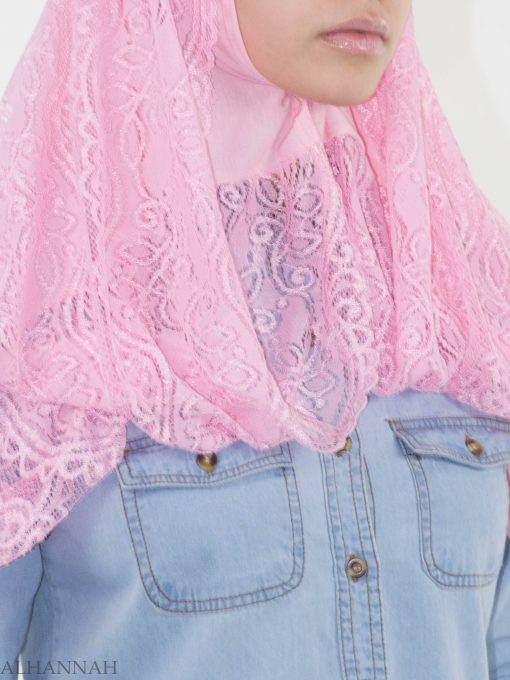 Floral Vines Lace Kuwaiti Wrap Hijab HI2143 (2)