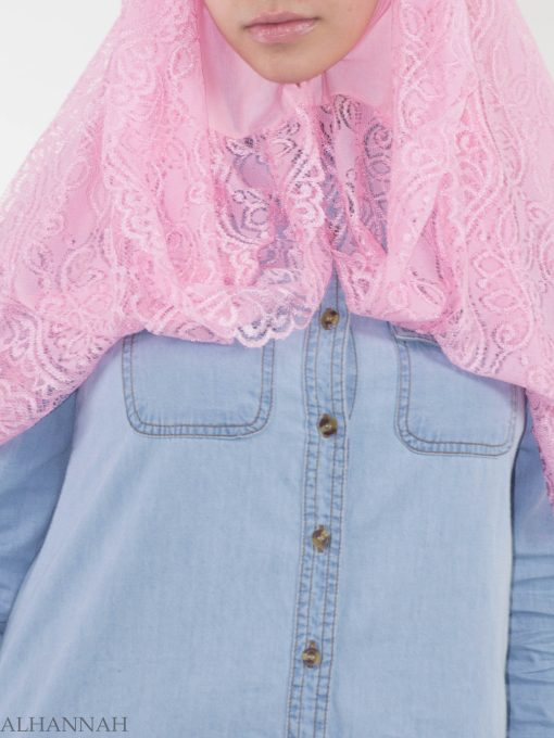 Floral Vines Lace Kuwaiti Wrap Hijab HI2143 (3)