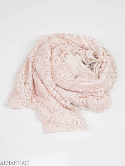 Floral Vines Lace Kuwaiti Wrap Hijab HI2143 (6)