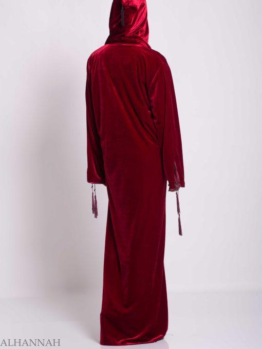 Hooded Laced Syrian Velvet Thobe TH791 (2)