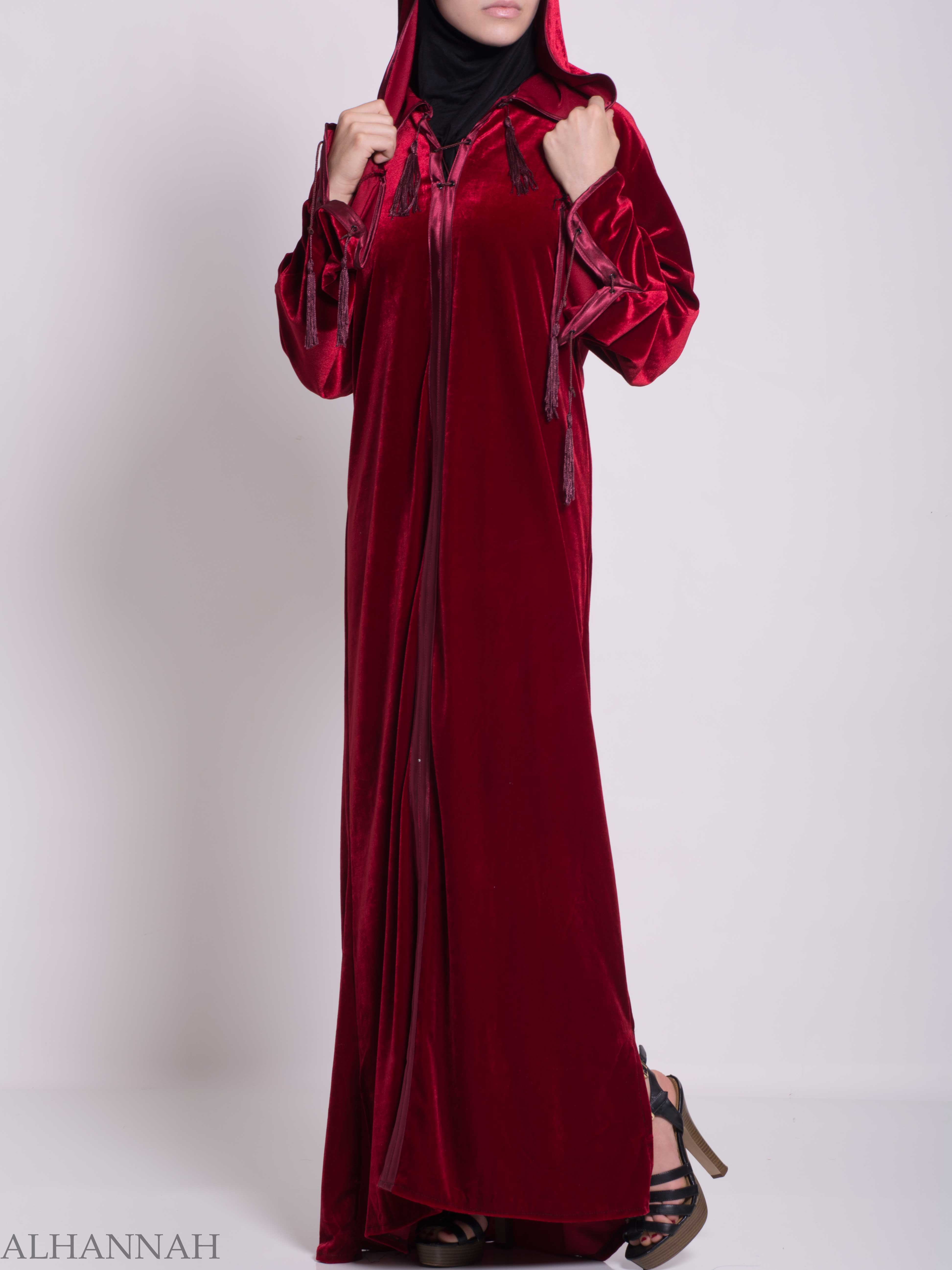 Hooded Laced Syrian Velvet Thobe TH791 (4)