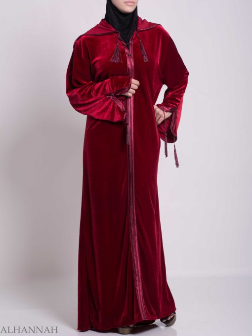 Hooded Laced Syrian Velvet Thobe TH791 (8)