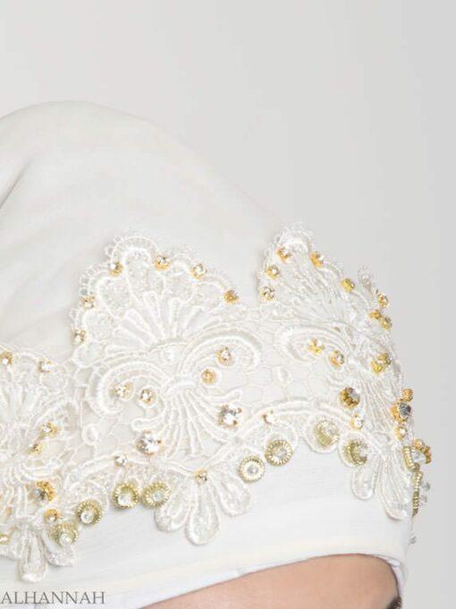 Ivory Pearled Bridal Hijab hi2152 (1)