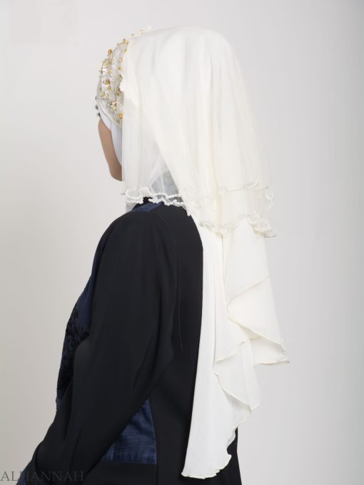 Ivory Pearled Bridal Hijab hi2152 (3)
