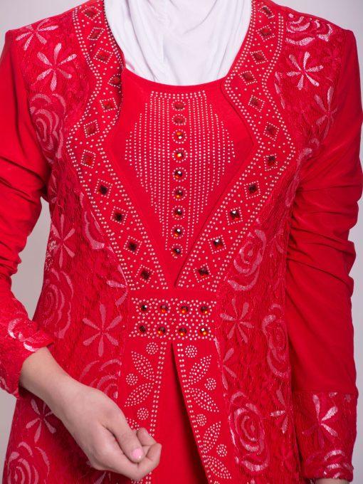Layered Floral Textured Jeweled Abaya ab702 (1)