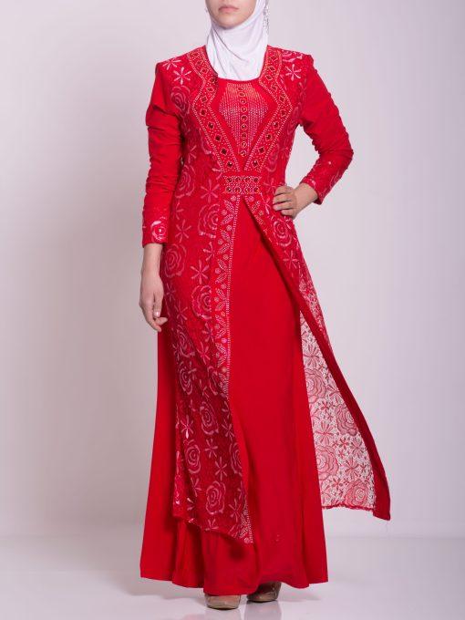 Layered Floral Textured Jeweled Abaya ab702 (10)