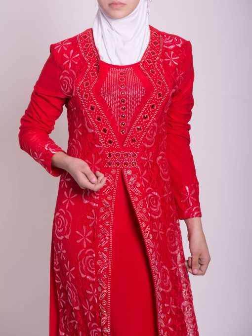 Layered Floral Textured Jeweled Abaya ab702 (11)