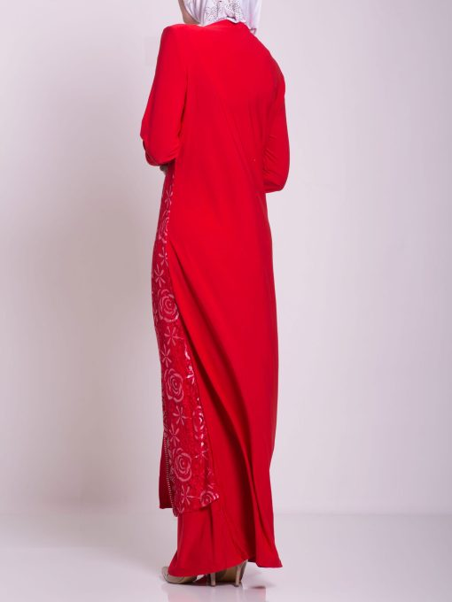 Layered Floral Textured Jeweled Abaya ab702 (2)