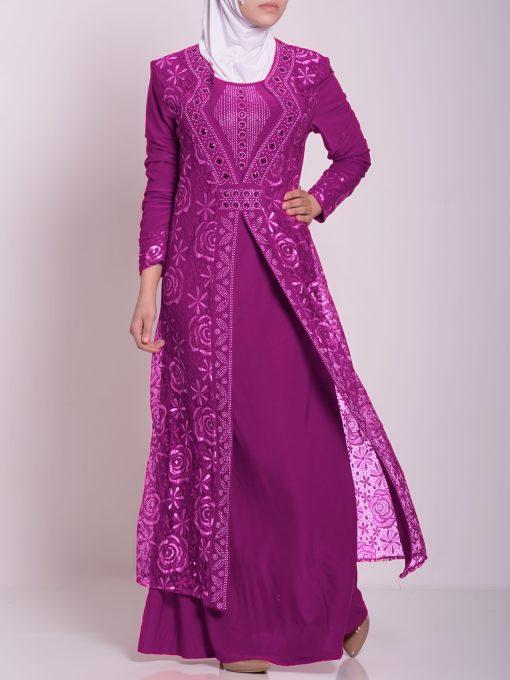 Layered Floral Textured Jeweled Abaya ab702 (3)