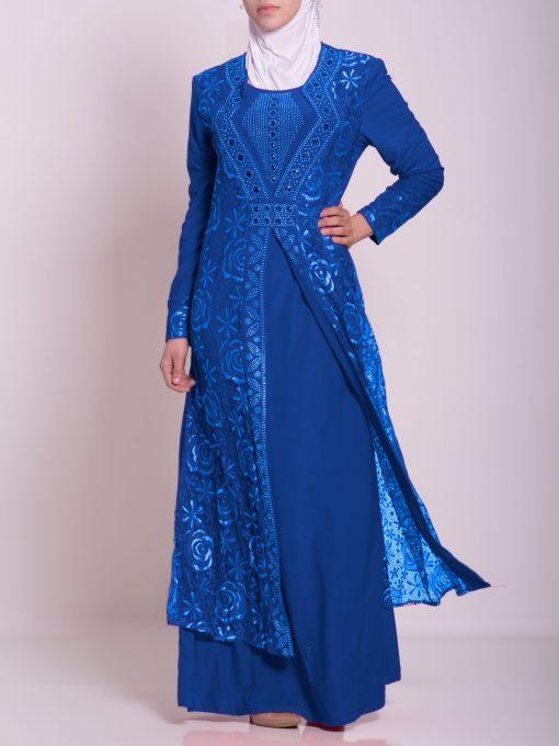 Layered Floral Textured Jeweled Abaya ab702 (4)