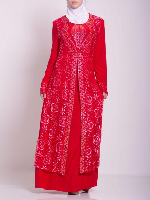 Layered Floral Textured Jeweled Abaya ab702 (5)