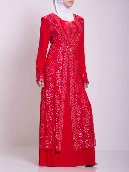 Layered Floral Textured Jeweled Abaya ab702 (6)