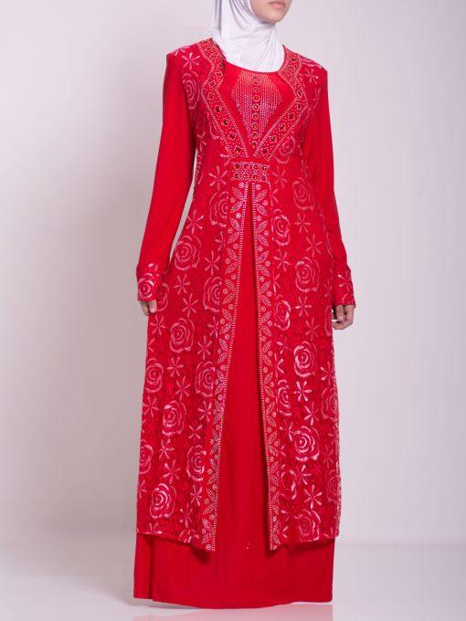 Layered Floral Textured Jeweled Abaya ab702 (7)