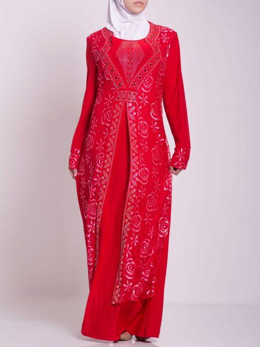Layered Floral Textured Jeweled Abaya ab702 (8)