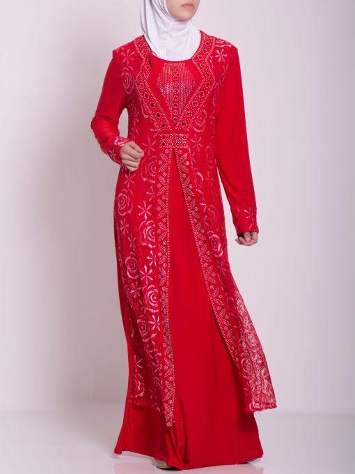 Layered Floral Textured Jeweled Abaya ab702 (9)