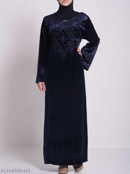 Sunny Vined Embroidered Velvet Syrian Thobe TH788 (3)