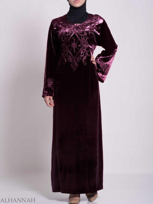 Sunny Vined Embroidered Velvet Syrian Thobe TH788 (5)
