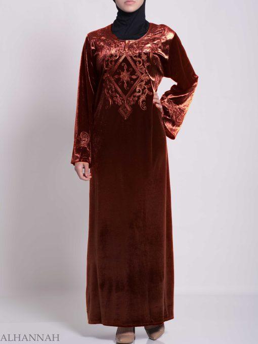 Sunny Vined Embroidered Velvet Syrian Thobe TH788 (6)