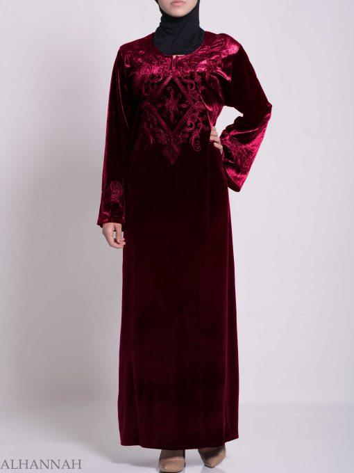 Sunny Vined Embroidered Velvet Syrian Thobe TH788 (7)