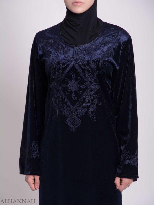 Sunny Vined Embroidered Velvet Syrian Thobe TH788 (8)