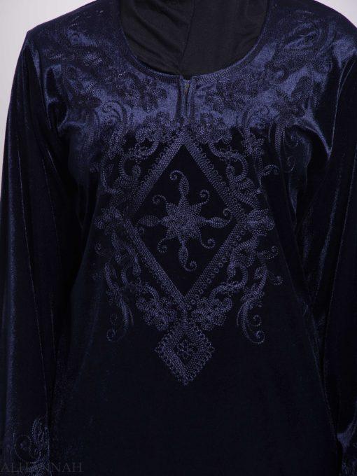 Sunny Vined Embroidered Velvet Syrian Thobe TH788 (9)