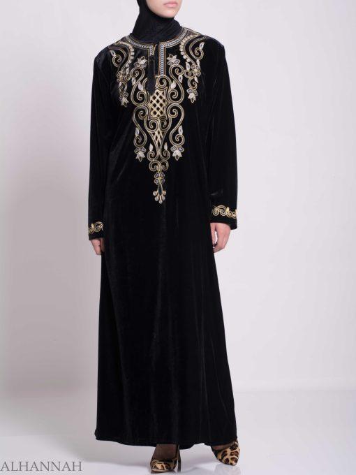 Swirled Clovers Embroidered Velvet Syrian Thobe TH784