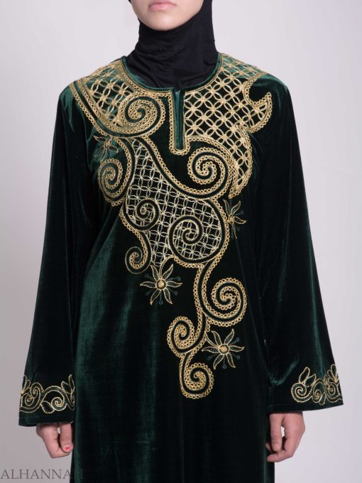Swirled Day Lillie's Embroidered Syrian Velvet Thobe TH790 (1)